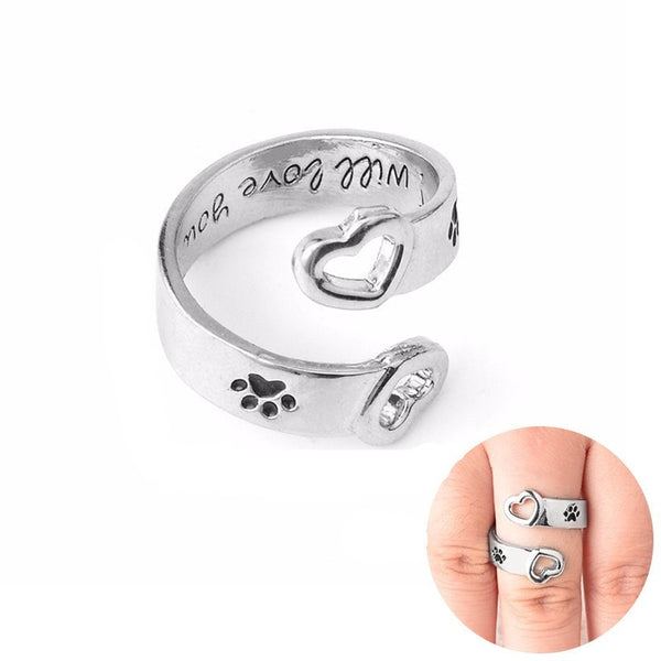 "Stamped Dog Paw Print Wrap Around Ring - ""I Will Love You Forever"""