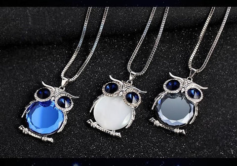Crystal Owl Pendant Necklace - 8 Colors!