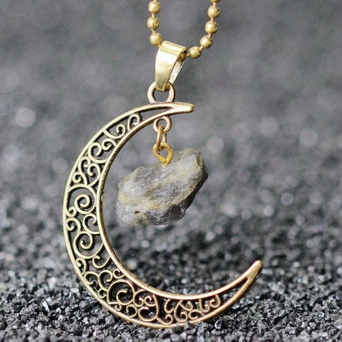 Vintage Handmade Crescent Moon Natural Stone Necklaces - 14 Styles