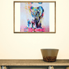 "Image of ""Elephant Mother Protecting Her Calf"" Oil Canvas Painting"