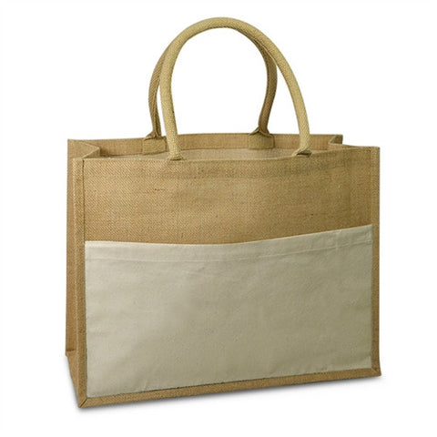 Jute Tote Bag - Canvas Pocket