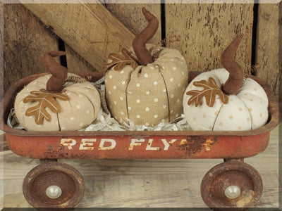 Small Vintage Harvest Pumpkin with Dots Set 3