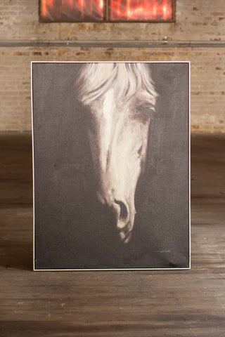Oil Painting Black and White Front View Horse with Silver Frame