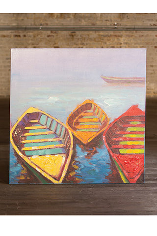 Oil Painting Three Colorful Row Boats