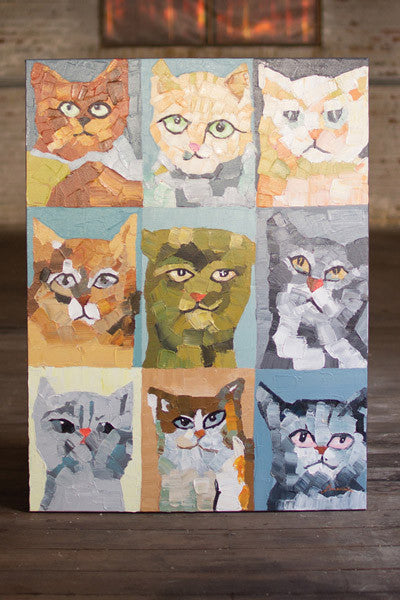 Oil Painting Nine Crazy Cats