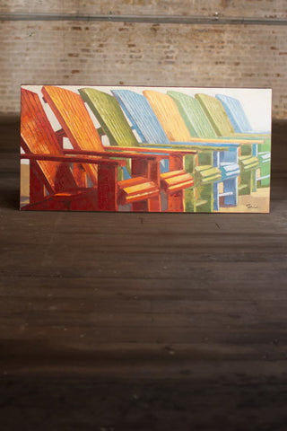 Oil Painting Beach Chairs