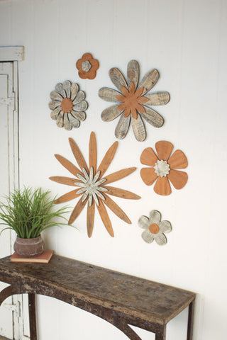 Set of Six Wooden Flower Wall Art
