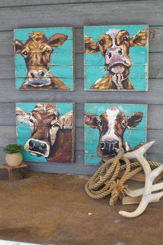 Set of Four Cow Paintings on Recycled Wood Panels