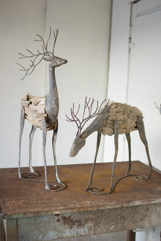 Set of Two Metal and Driftwood Deer - One Head Down One Head Up