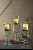Mini Glass Candle Cylinder with Metal Insert and Glass Base-Medium