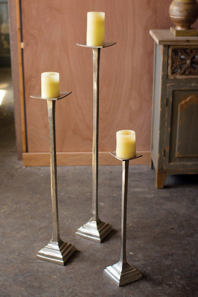 Set of 3 Aluminum Candle Stands - Antique Silver