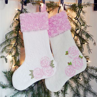 "Christmas Roses 18"" Stocking Pattern"