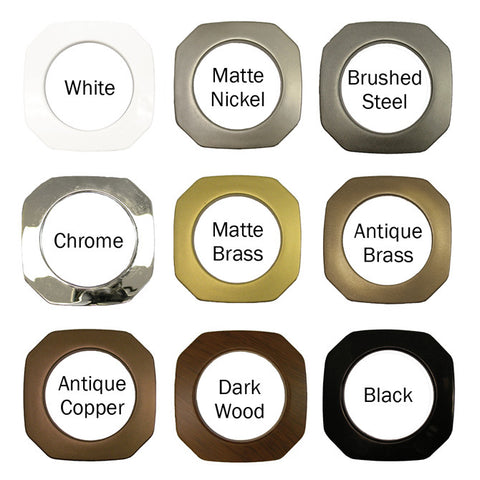 "Square Plastic Grommets,  1 3/8"" ID, #10,  9 Colors, 8 Pack"