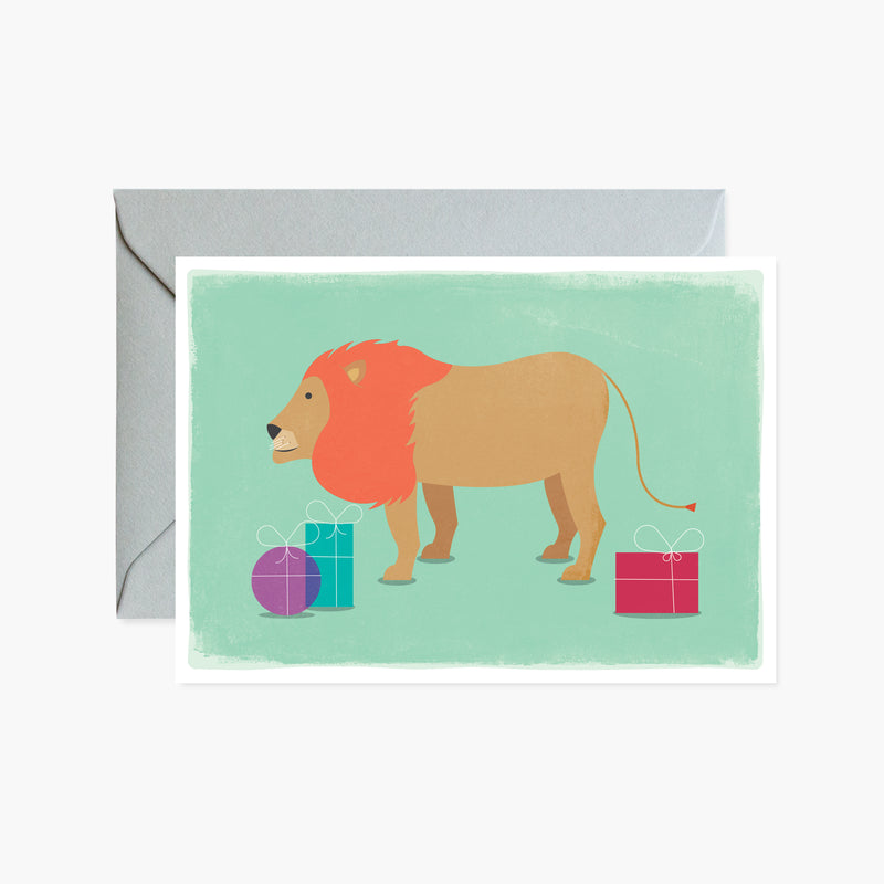 Lion With Presents Card