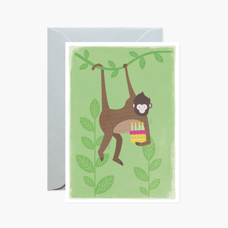 Swinging Monkey With Cake Card