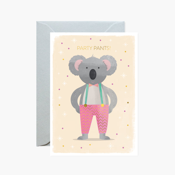 Party Pants Koala Gold Foil Card