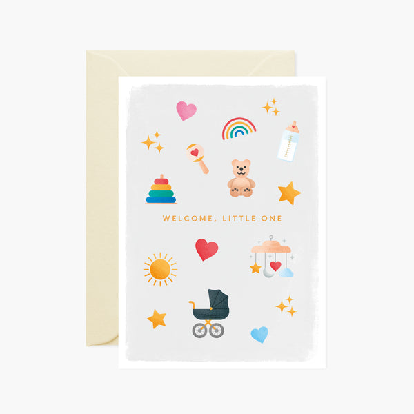 Welcome, little one Baby icons card