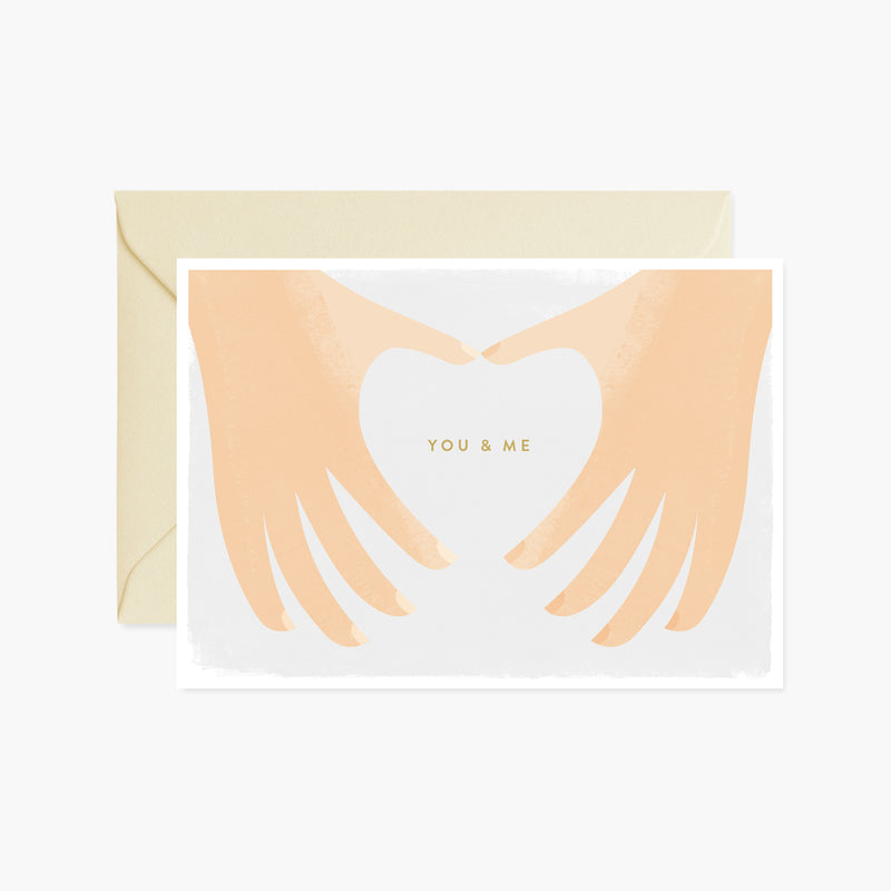 You And Me Hand Heart Card