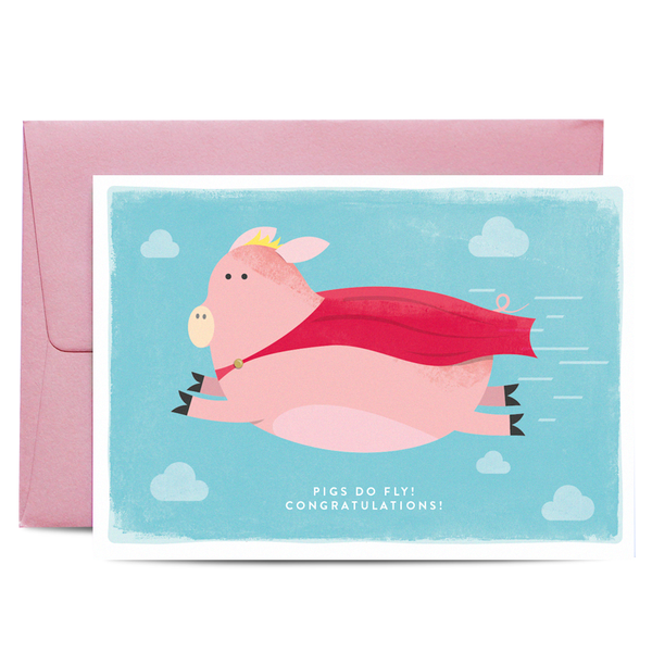 Flying Pig Congratulations Greeting Card