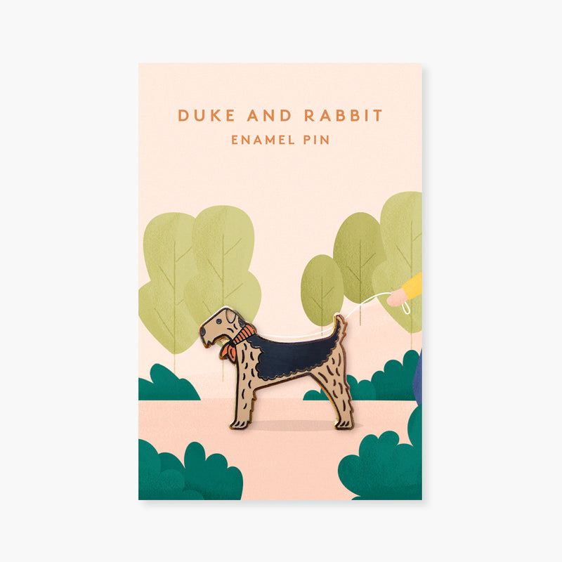 Dog with Neckerchief Gold Enamel Pin