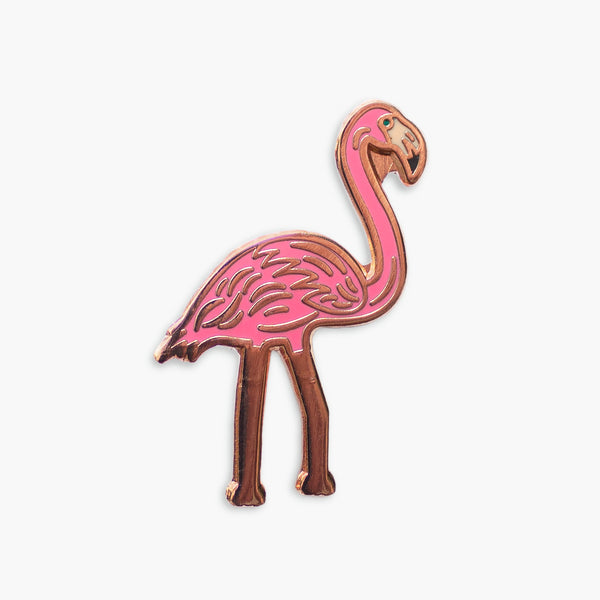 Flamingo Rose Gold Enamel Pin