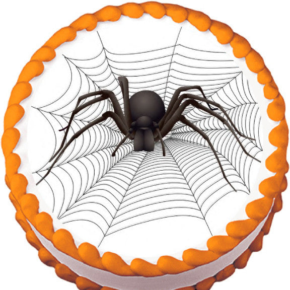 Big Spider on Web Halloween Edible Cake, Cupcake & Cookie Topper