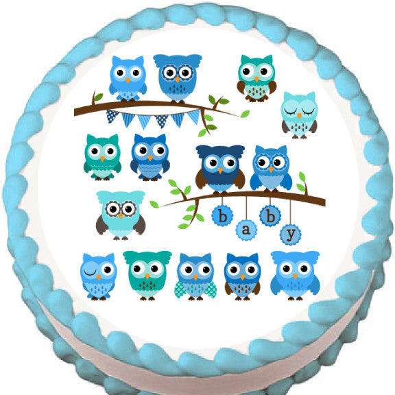 Blue Owls Baby Shower Edible Cake, Cupcake & Cookie Topper