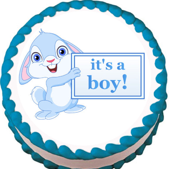 It's a Boy! Bunny Baby Shower Edible Cake, Cupcake & Cookie Topper