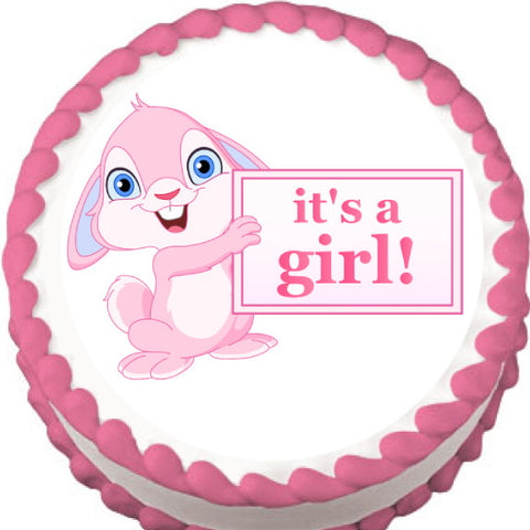 It's a Girl! Bunny Baby Shower Edible Cake, Cupcake & Cookie Topper