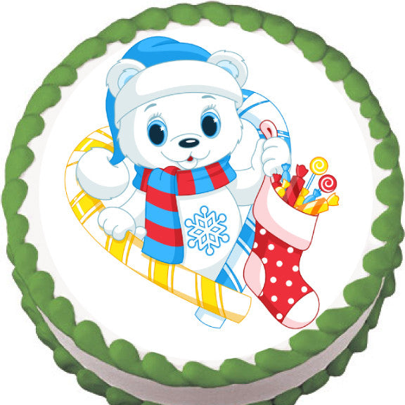 Snow Bear Christmas Edible Cake, Cupcake & Cookie Topper