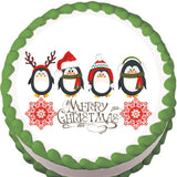 Penguin Christmas Greeting Edible Cake, Cupcake & Cookie Topper