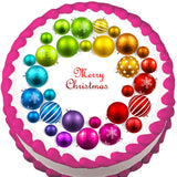 Rainbow Ornament Christmas Wreath Edible Cake, Cupcake & Cookie Topper