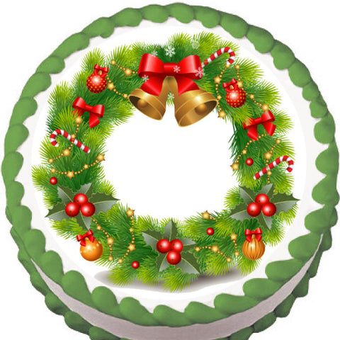 Christmas Bell Wreath Edible Cake, Cupcake & Cookie Topper