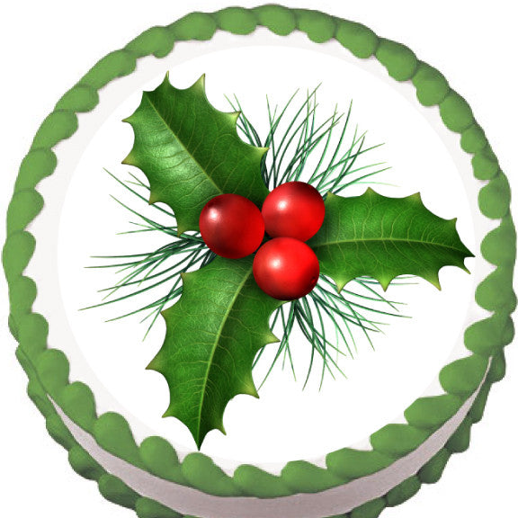 Christmas Holly Edible Cake, Cupcake & Cookie Topper