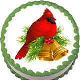 Christmas Cardinal Globe Edible Cake, Cupcake & Cookie Topper
