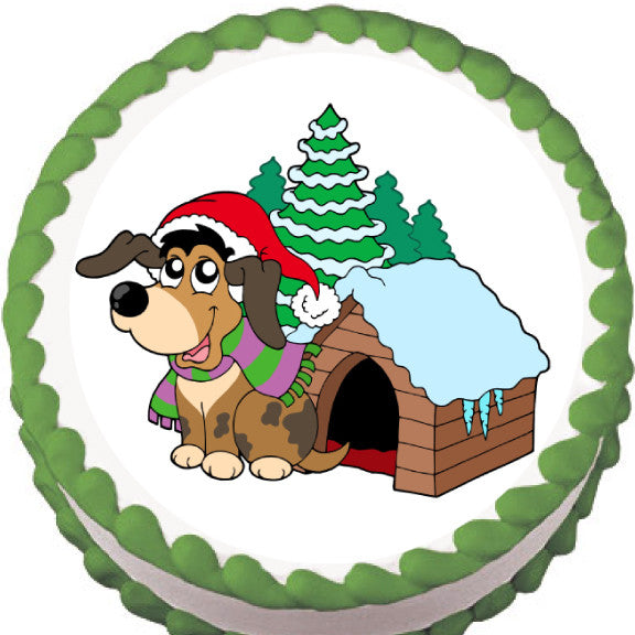 Doggie Christmas Edible Cake, Cupcake & Cookie Topper