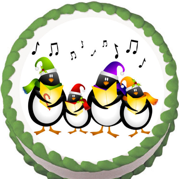 Carolling Penguins Christmas Edible Cake, Cupcake & Cookie Topper