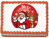 Red Santa and Rudolph Christmas Edible Cake, Cupcake & Cookie Topper