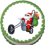 Motorcycle Christmas Edible Cake, Cupcake & Cookie Topper