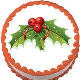 Christmas Holly and Berries Tree Edible Cake, Cupcake & Cookie Topper