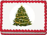 Gold Garland Christmas Tree Edible Cake, Cupcake & Cookie Topper
