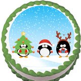 Penguin Dress Up Christmas Edible Cake, Cupcake & Cookie Topper