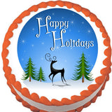 Reindeer Holiday Blue Edible Cake, Cupcake & Cookie Topper