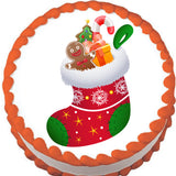 Christmas Stocking Edible Cake, Cupcake & Cookie Topper