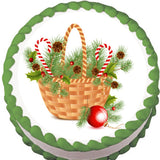 Christmas Basket Edible Cake, Cupcake & Cookie Topper