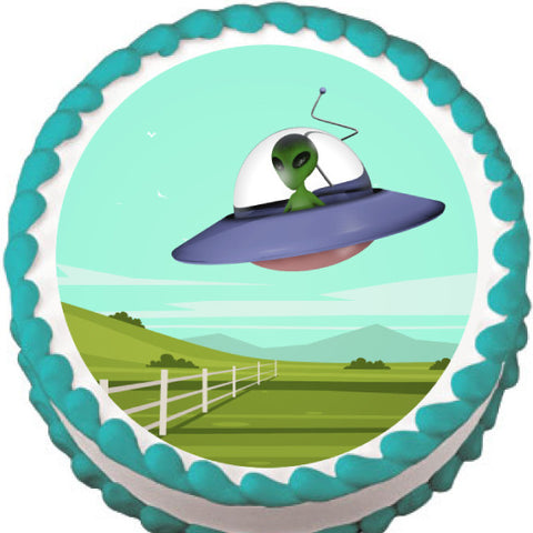 Alien Flying over Field Edible Cake, Cupcake & Cookie Topper