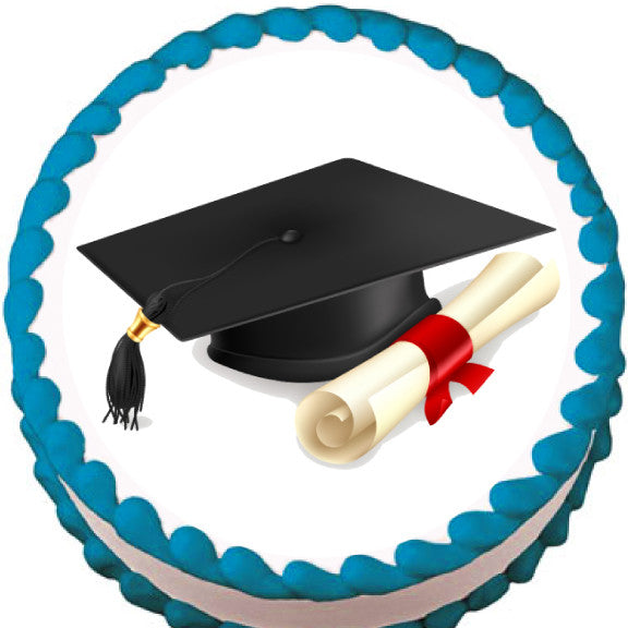 Edible Cake Decorations With Graduation Cap And Diploma