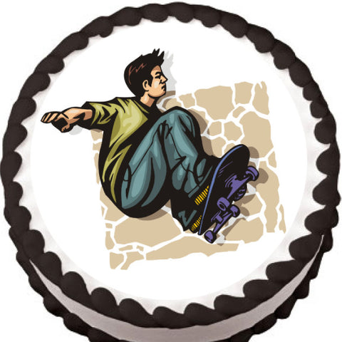 Grabbing Air Skateboard Edible Cake, Cupcake & Cookie Topper