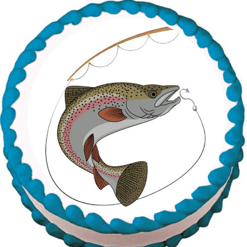 Going for Hook Fishing Edible Cake, Cupcake & Cookie Topper