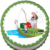 Weekend Fisherman Edible Cake, Cupcake & Cookie Topper
